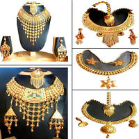 Necklace Indian 22K Gold Plated Exquisite Tikka Jhumka Necklace Earrings Set