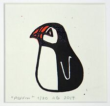 Reduction lino print of a Puffin