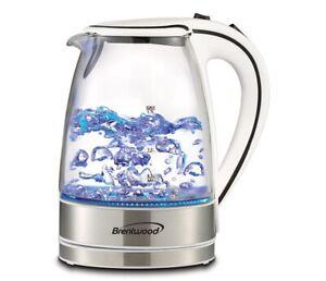 Brentwood 1.7 Liter KT-1900 Royal Glass Electric Tea Kettle (White) Brand New