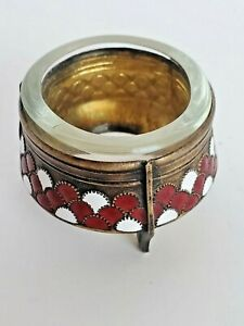 Small Red and White Enameled Glass Insert Ink Well Arts And Crafts Look