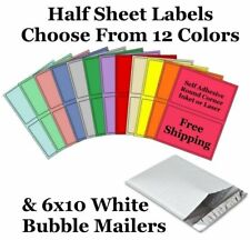 6x10 White Bubble Mailers + 8.5x5.5 Half Sheet Self Adhesive Shipping Labels