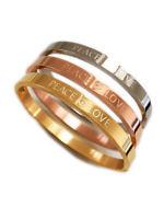 Armreif Spruch Peace&Love Bracelet Mantra Armband Bangel Edelstahl gold