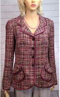 JÔN Womens Pink Plaid Tweed Wool Mohair Alpaca Blazer Sz 12 NWOT