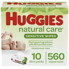 Huggies Natural Care Sensitive Baby Wipes, Unscented, 10 Flip-Top Packs (560 Wip