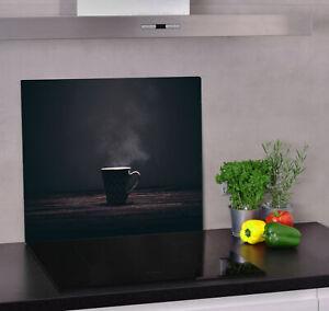 Glas Herdabdeckplatte für Küche Herdabdeckung Dunkel Holz, Kaffee, Kaffeebecher