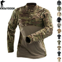 Mens Combat Tactical T-Shirt Army Military Casual Shirt Forces Hiking Camouflage