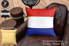 "NETHERLAND FLAG COLOUR LEATHER 1X EXCLUSIVE LUXURY CUSHION 18""x18"" CREAM BACK"