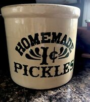 Vintage Homemade Pickles 1 cent Crock - 2 Gallon Stoneware - As seen on Friends