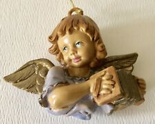 Vintage Made In Italy Resin Plastic Angel Accordion Christmas Tree Ornament