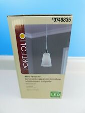 Portfolio Mini Pendant LED Ceiling Light Fixture Polished Nickel W Frosted Glass