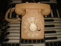 Vintage Northern Telecom  Tan Beige Rotary Dial Desk Telephone
