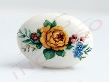 Pomolo Pomello 670-11 Fiore giallo porcellana ceramica ovale base ottone antico