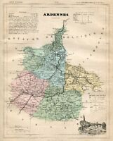Genuine Original Antique 1877 France Hand Colored Map ARDENNES French Europe