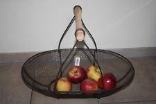 Großer Metall-Gitterkorb mit Holzgriff♥50 cm♥Obstkorb♥Gemüsekorb♥Dekokorb