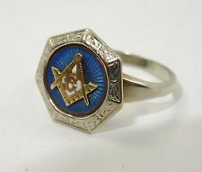 FINE ANTIQUE EARLY 20 c. MASONIC GUILLOCHE ENAMEL 14K WHITE GOLD RING