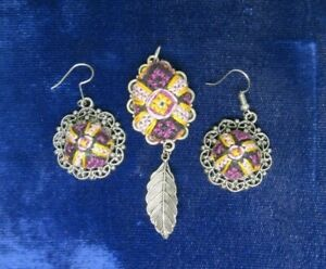 Hand Made Thread Necklace Set Earrings and Pendant with feather