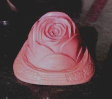 EXQUISITE Vintage Pink Rose Ring Box Purple Velvet White Satin Inside USA made