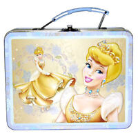 Tin Metal Lunch Snack Toy Box Embossed Disney Princess CINDERELLA Enchanted NEW