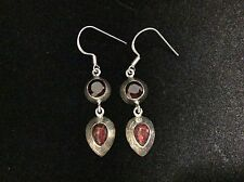 VINTAGE STERLING SILVER OPAL GLASS AND GARNET DANGLE EARRINGS