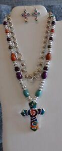 Lot 3 Jewelry Items  SilveTone 2 Necklace 1 earrings Great for Layering Enamel