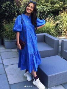 ZARA BLUE FLORAL PUFF SLEEVE EMBROIDERED FLOWER DRESS RUFFLED HEM MIDI POPLIN L