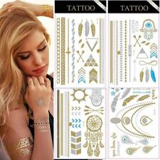 Tatoo Tatuaggi Stikers Gold Silver Metallic Temporanei da Applicare Assortiti