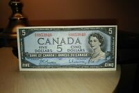 1954 $5 Dollar Bank of Canada Banknote ZS9953946 F-VF Crisp