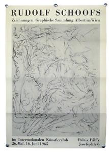 """Ausstellungs Plakat """"Rudolf Schoofs"""" Wien 1965, Künstler Werbe Poster 60er Jahre"""