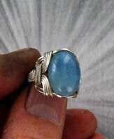 AQUAMARINE GEMSTONE RING IN STERLING SILVER SIZE 5 TO 15   WIRE WRAPPED