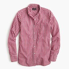 NWT J.Crew Club-Collar Boy Shirt in Gingham Burgundy Size 12
