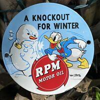VINTAGE RPM MOTOR OIL WALT DISNEY PORCELAIN SIGN KNOCKOUT DONALD DUCK METAL USA