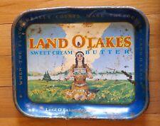 Vintage Land O'Lakes Sweet Cream Butter Metal Serving Tray Platter Antique Tin