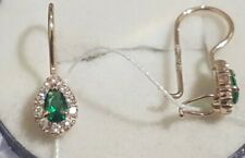 Russian Earrings gold NEW Solid Rose Gold 14K 585 emerald fine jewelry retro