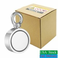 500LBS Fishing 2 Sided Magnet Super Strong Neodymium Round Eye bolt Pull Salvage