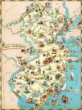 Canvas Reproduction Vintage Pictorial Map of New Jersey Print Ruth Taylor 1935