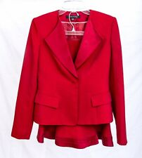 Anne Klein 2 Piece Lined Red Skirt Suit - Size 4