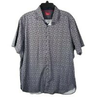 Alfani Mens Button Down Shirt Size 2XL Short Sleeve Navy Blue Square Slim Fit