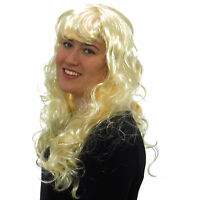 Women's Sexy Long Curly Blonde Wig Fancy Dress Costume Style Full Ladies Wig