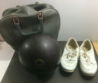 VINTAGE EBONITE MAXIM BOWLING BALL + BRUNSWICK BAG + BRUNSWICK BOWLING SHOES