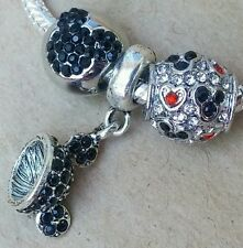 Disney Mickey Sparkling Ears Hat CZ Black Mouse Head Hearts European Bead Charms