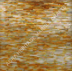 """24"""" Marble Coffee Table Top Yellow Mother of Pearl Inlay Design Patio Decor E265"""