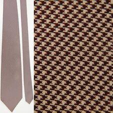 POLO RALPH LAUREN BROWN WHITE HOUNDSTOOTH DRESS ALL SILK NECKTIE NECK TIE