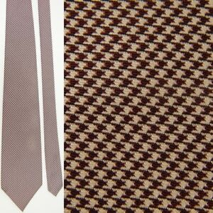 POLO RALPH LAUREN BROWN WHITE HOUNDSTOOTH DRESS ALL SILK NECKTIE NECK TIE