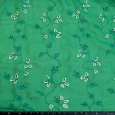 """Green Crinkled Chiffon w/ embroidery 100% Silk Fabric, 44"""" W, By Yard (Eb-6047A)"""