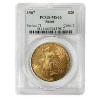 1907 $20 Gold Saint Gaudens Double Eagle Coin PCGS MS 66