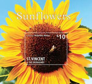 St. Vincent 2014 - Sunflower, Flower, Bee, Fauna & Flora - Souvenir Sheet - MNH