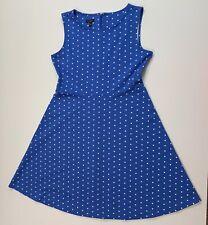 TALBOTS Large Blue White Polka Dot Sleeveless Dress