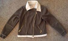 Michael Kors Dark Green/Olive Sherpa Moto Jacket Size Large
