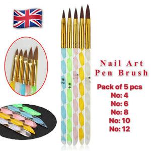 5 Acrylic Nail Art Carving Pen Brush Painting Drawing Liner Polish Pro Set