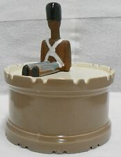 RED WING POTTERY DRUM SHAPE COOKIE JAR WITH COVER AS IS